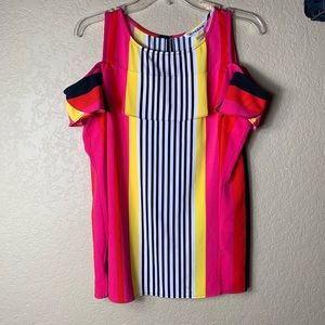 Nygard Cold Shoulder Tank Neon Pink Striped Top